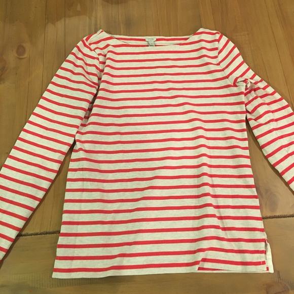 JCrew Boatneck Striped Shirt (Red and Tan)